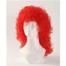 Red Wet Look Long Curly Clown Costume Wig