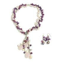 NEW Freshwater Pearl Rose Quartz Drop Cluster Necklace French Hook Earring Set