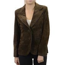 NWT Di Vita Rilassata Ladies Brown 100% Genuine Suede Blazer Cut Coat/Jacket