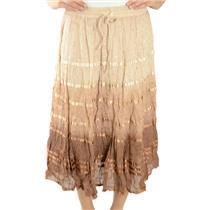 OS Petite NWT Silver Stream Beige Dye Satin Stripe Tiered Stretch Maxi Skirt
