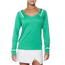 NWT! Sz M Asics Mint Green Women's Athlete Long Sleeve Tennis Top w/ V-Neck
