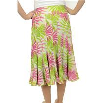 S New Manyus Pink/Green Pinwheel Floral Silk Chiffon w/Satin Piped A-Line Skirt