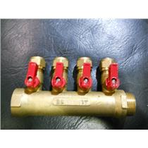 "4 PORT BRASS MANIFOLD W/ 1/2"" PEX VALVES 1""NPT MALE x 1"" FEMALE"