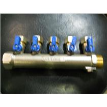 "5 PORT NICKEL PLATED BRASS MANIFOLD W/ 1/2"" PEX VALVES 1""NPT MALE x 1"" FEMALE"