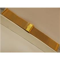 22mm Wide Gold Tone Mesh Bracelet in Stainless Steel. Adjustable Length