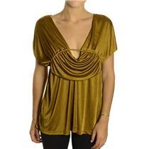 NEW LaRok Dark Goldenrod Jersey Empire Waist Grecian Draped Sleeveless Blouse