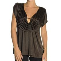 NEW LaRok Brown Jersey Knit Empire Waist Grecian Draped Sleeveless Blouse Top