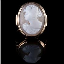 Vintage 1920's 14k Yellow Gold Oval Cut Natural Shell Cameo Ring