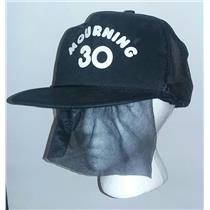Black Mourning 30 Snapback Trucker Hat Attached Funeral Veil 30th Birthday Gift