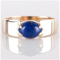 14k Yellow Gold Marquise Cabochon Cut Lapis Lazuli Solitaire Wide Band Ring .6ct