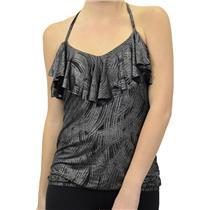 L NEW Veronica M Black Silver Sparkle Feather Print Ruffle V-Neck Halter Top