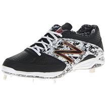 New Balance Men's L4040 Baseball Metal Low Shoe,black/white,15 D US