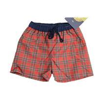 6Y NWT Petit Boy Navy Blue Red Plaid Swimsuit Swim Trunks Shorts Bathing Suit