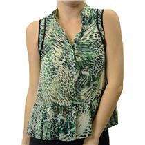 NWT Kensie Birch Combo Green Animal Swirl Leo Tank Top Peplum Chiffon KS7K4063