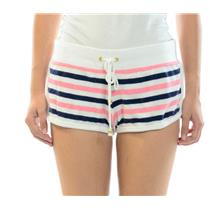 Sz S Authentic Juicy Couture Fanfare Stripe Terry Dolphin Shorts White/Pink/Navy