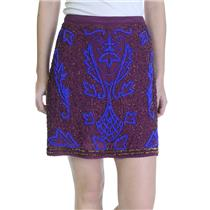 NWT Candela Anthropologie Intricate Bead Embroidery Ashby Mini Skirt Wine Purple