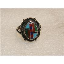 SOUTHWEST STERLING SILVER TURQUOISE CORAL INLAY RING SIZE 5.5 SIGNED SE N448-G