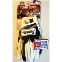 Franklin Youth Series Batting Gloves Size M BLK/WHT