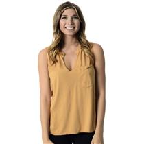 XS Madewell Mustard Yellow Sleeveless Distressed V-neck Pocket Front SOFT Top