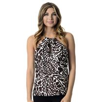 Sz 2 Milly Brown/White Animal Print 100% Silk Halter Top With Chain Neck Strap