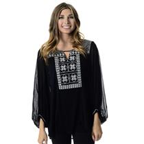 NWT Size M Alfani Black & White Embroidered Long Sleeve Peasant Top 7195DPB194
