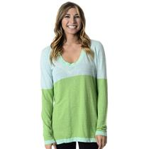 New! S Hiho Mint Turquoise & Green Scoop Neck Long Sleeve Sweater 100% Linen