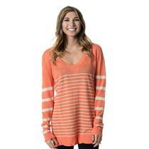 New Hiho Orange & Beige Scoop Neck Striped Long Sleeve SOFT Sweater 100% Linen