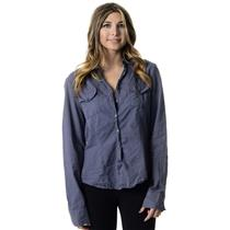 3 James Perse Blue-Gray Long Sleeve Button Down Collared Shirt w/ Pockets
