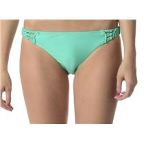 NWT! Sz S Roxy Swim Metallic Green Bikini Bottoms Knotted at Hip ARJX400005