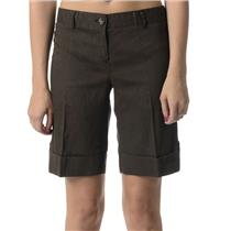 2 Theory Brown Chenoa Chino Style Linen Blend Flat Front Cuffed Mid-Rise Shorts
