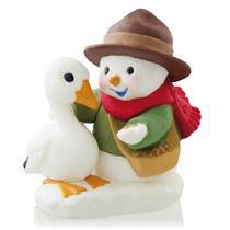 Hallmark Series Ornament 2014 Snow Buddies #17 - Snowman and Duck - #QX9063