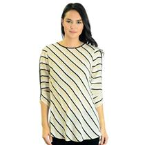 S BCBG Maxazria Silk Cream Black Diagonal Stripe Open Back Blouse 3/4 Sleeve Top