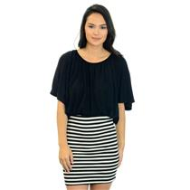 NTW S Aqua Black And White Striped Dress W/ Gathered Neckline And Dolman Sleeves