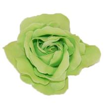 "3.5"" NWT Chartruese Green Silk Fabric Rose Flower Hair Clip Broach Pin Accessory"