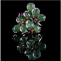 Vintage 1960's 14k Yellow Gold Pear Cut Jade & Ruby Floral Cocktail Ring 2.94ctw