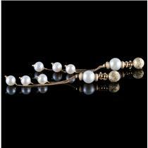 18k Yellow Gold Round Cut Cultured Pearl Multi-Strand Dangle Earrings