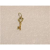 14K YELLOW GOLD KEY TO MY HEART NECKLACE PENDANT CHARM N449-B