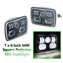 "1 Pair 7"" x 6"" 54W Square High Low Beam CREE LED Black Projector Headlight"
