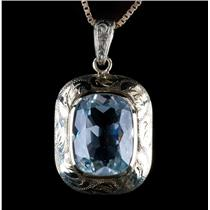 "Vintage 1920's 14k Yellow Gold Cushion Cut Aquamarine Pendant W/ 18"" Chain 10ct"