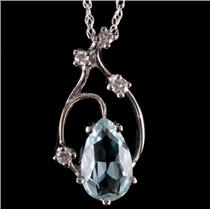 14k White Gold Pear Cut Aquamarine & Diamond Pendant W/ 18' Chain 1.62ctw