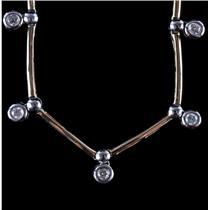 14k Yellow & White Gold Two-Tone Round Cut Diamond Hollow Tube Necklace .42ctw