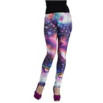 Fun World Cosmic Celestial Galaxy Print Comfy Stretch Leggings
