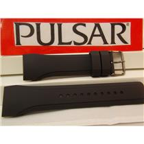 Pulsar Watch Band PQ2011 Curved End Black Rubber Strap. Watchband.