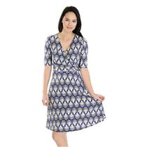 NWT! Sz 2 Donna Morgan Blue/Ivory/Black Printed Stretch Jerey Faux Wrap Dress