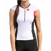 Castelli Women's Free Tri Capsleeve Top White/Black/Pink Small