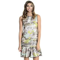 10 NEW Cynthia Rowley Metallic MultiColor Camo Flouce Sleeveless Snap Back Dress