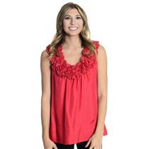 S New Yoana Barashi Red Flower Embellished Sleeves Neckline Sleeveless Top