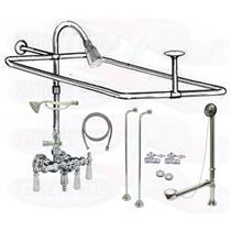 Chrome Clawfoot Tub Faucet Add-A-Shower Kit