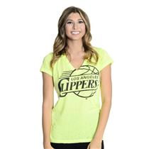 NWT! S Touch By Alyssa Milano Flourecent Yellow Official LA Clippers V Neck Tee