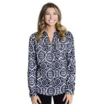 NWT 4 MICHAEL Michael Kors Long Sleeve Navy White Printed Zip Front Collared Top